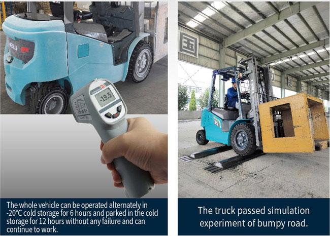 Xe nâng điện heli lithium 2.5 tấn trong kho lạnh