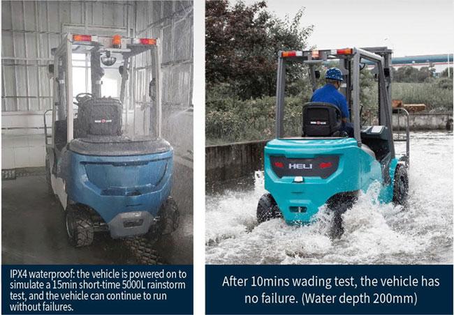xe nâng điện lithium hoạt động trong môi trường ẩm ướt
